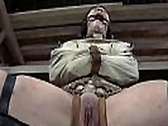 Clamped up cutie gets her fuck holes tortured