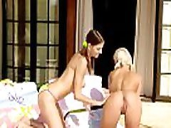 Horny and playful teen gals are playing with their strapons