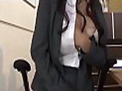 This slut likes to ride hard cocks to kill time at work