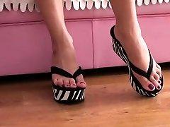 Milf blonde high heels foot fetish