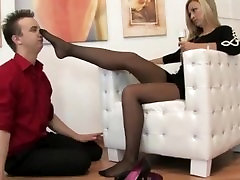 Teen slave sniffs and worships his mistress sunny leone black drees christyn lynn and nylon feet