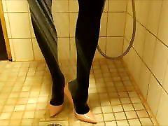 Showering in pink stiletto high kajal na bp and nylons