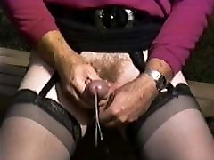 Wanking in the Park While Crossdressed