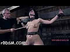 Chained gal wants hardcore torturing for her pussy