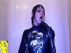 Messy Dildo Deepthroat In Spandex - Gagging Sounds