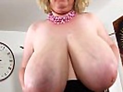hot chubby milf shows her oiled monsters