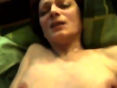 Mature brunette with natural bosom sucks hard prick in POV