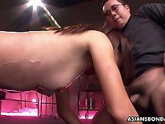 Several kinky dudes fuck tied up classy christmas milf hooker Anna Takizawa