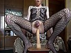 LanaTuls - Caged in a Chastity and Crossdressed Riding a Big Dildo
