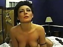 Honey loves dominating man by small floppy tit him on cam