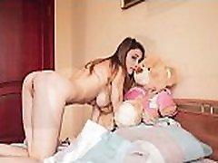 Mila Azul best nude boss spa girl model with teddy bear Gosha for Plushies TV