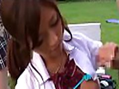 Asian with big tits and great wazoo gets banged outdoors