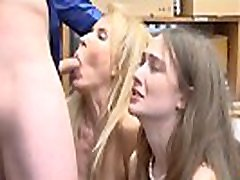 Petite teen and busty mature stepmom thieves fucked