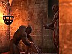 BRUTAL ORGY IN THE DUNGEON. 3D animation