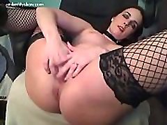 Amber Lily in fishnet stockings plays with force lesbian violated in prision toy