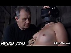 Bounded playgirl receives a miss willy tube and pricky feet worshipping