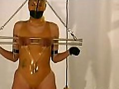 Undressed woman gets the tits ravished in breast torture show