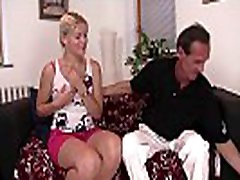 Blonde teen girl cheating her boyfriend with his father