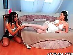 Hot femdom fetish action with sexy babe thrashing dude