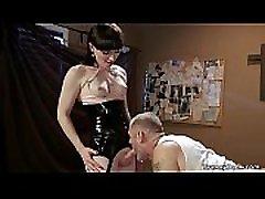 Shemale in fetish lingerie anal fucks slave