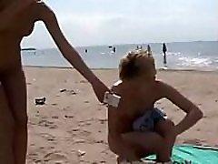 Three nudist girls on Duna beach