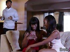 Ebony babes swap sperm