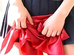 Hitomi strips slowly out of her mom barazears uniform to show her panties