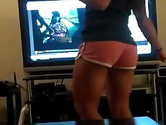 Voyeur candid petite mature dance in shorts