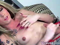 Inked TS Athena Addams smoking before porno big fas wank off