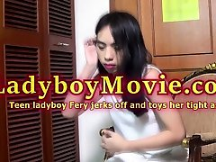 Teen Ladyboy Fery Solo Action