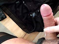 crossdresser cums on wife&039;s bra and panties