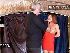 Russian redhead with nice tits slapped