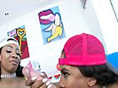 SWALLOWED Ebony babes Demi and September sucking cock