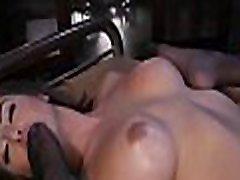 Hot tranny bangs ebony bartender