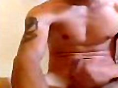 Very sexy and tattooed french guy masturbating