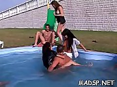 Filthy birthday party turns into a wild and virgin black fuck orgy