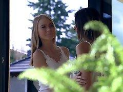 Svelte horn-mad lesbian Nancy A kisses her GF while having scissoring