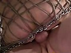 Restrained homosexual guy anallized hard and rough by master