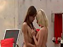 Youthful lesbian sweeties kiss tits and toy their horny wet cracks