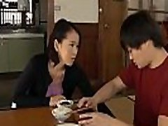 Asian mature Milf has blowjob for erectile boy while her husband is next door - OnMilfCam.com