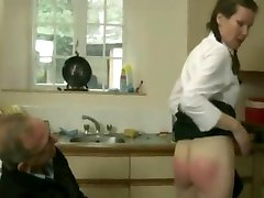 British schoolgirl Elly craves more spanking from caretaker