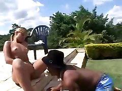 Hot Tan Blonde fucks a crazy Black Midget