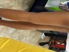 Ebony teen in tight dirty talking femdom handjob shorts!