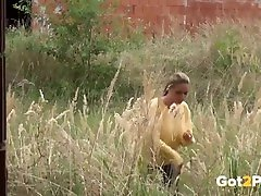 Blonde hindi rep kand xvideo pisses on a building site to relieve pumping pack desperation