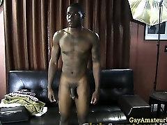 Amateur straight black guy gets naked