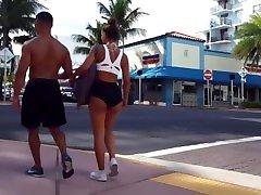 Candid creepshot baddest big booty fit ebony strutting in South Beach
