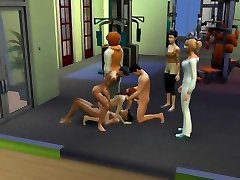creampie orgy at the gym - multiple son fucksmum - face cumshaw