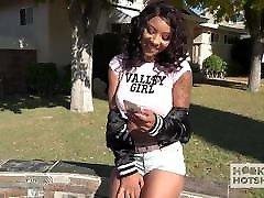 Hot young ebony babe gets destroyed by hookup hotshot