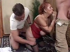 Horny chubby granny does two guys