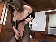Awesome swarthy femdom making white serf lick pussy